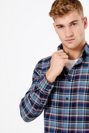 Marks & Spencer Erkek Mavi Pamuklu Kareli Gömlek T25001026M