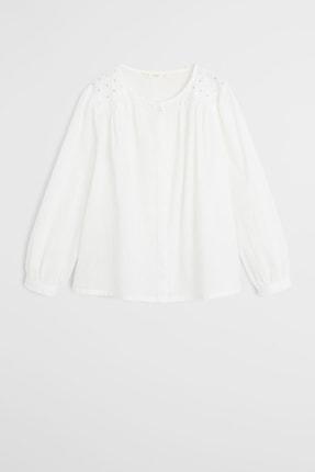MANGO Kids Beyaz Kız Çocuk Parlak Aplikeli Bluz 67070517