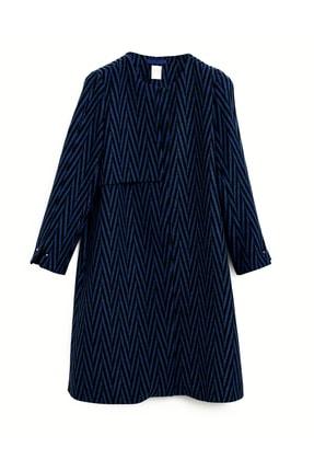 Yargıcı Kadın Lacivert Yakasız Uzun Palto 9KKPL5150A