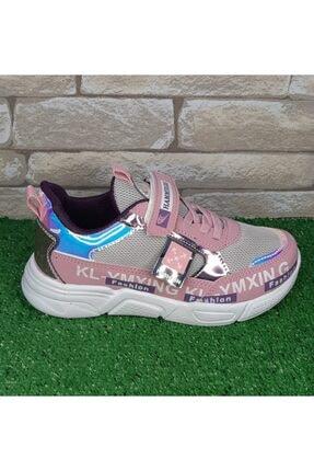 Hammır cek Kız Çocuk Pembe Parlak Sneaker Spor Ayakkabı