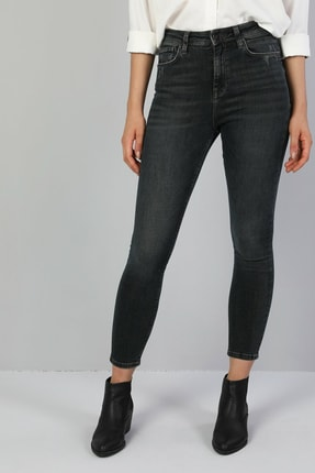 Colin's KADIN 760 Dıana Yüksek Bel Dar Paça Super Slim Fit Gri Kadın Jean Pantolon CL1047032