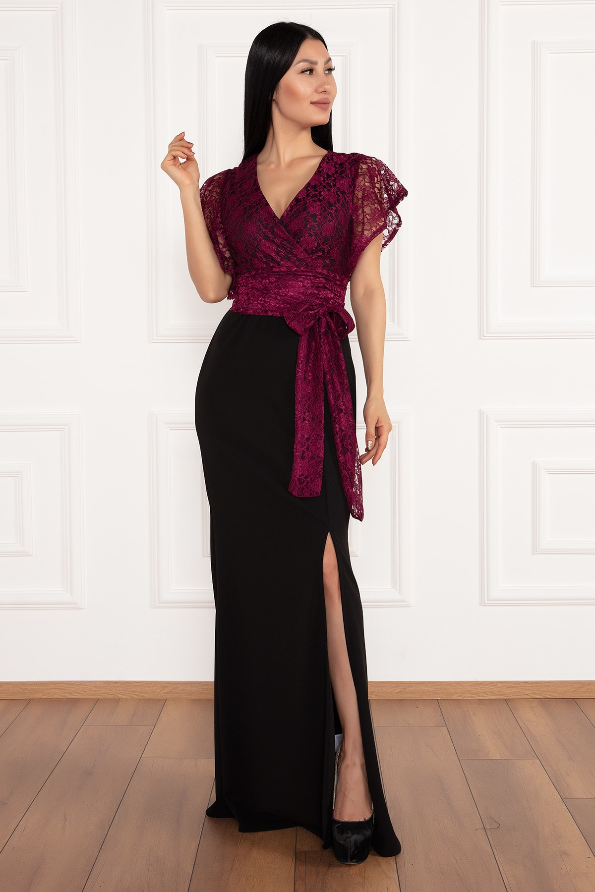 PULLIMM Olive Krep Üstü Dantel Uzun Elbise 13214 1
