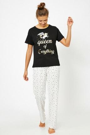 Koton Kadın Siyah Pijama Takımı 0KLK79244MK