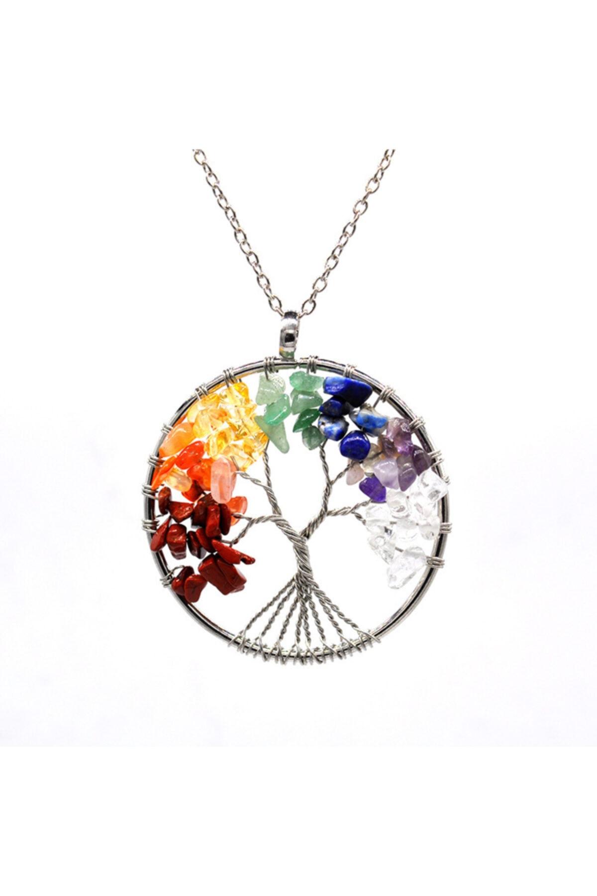 Kubbehan Fashion Jewellery Kadın Tel Sarmalı 7 Çakra Hayat Ağacı Doğal Taş Kolye 1