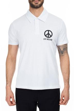 Love Moschino Erkek Beyaz T-Shirt S M831801M3876 A00