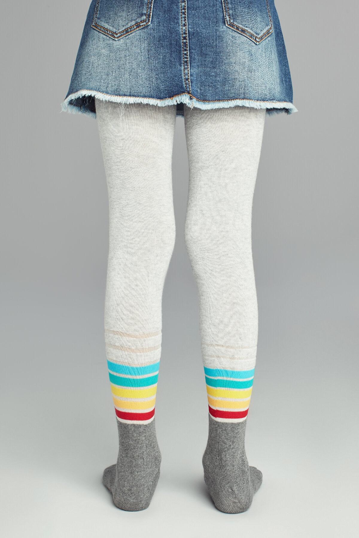 Penti Kız Çocuk Kül Melanj Pretty Stripemuch Külotlu Çorap 2