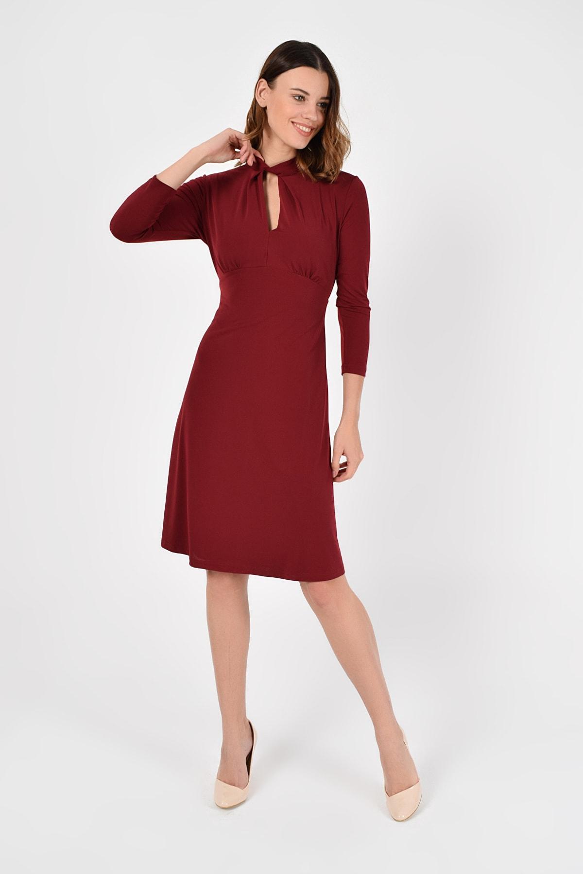 Laranor Kadın Bordo Yakada Burgu Detay Elbise 19L6720 1