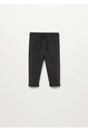 MANGO Baby Kız Bebek Siyah Organik Pamuklu Jogger Pantolon