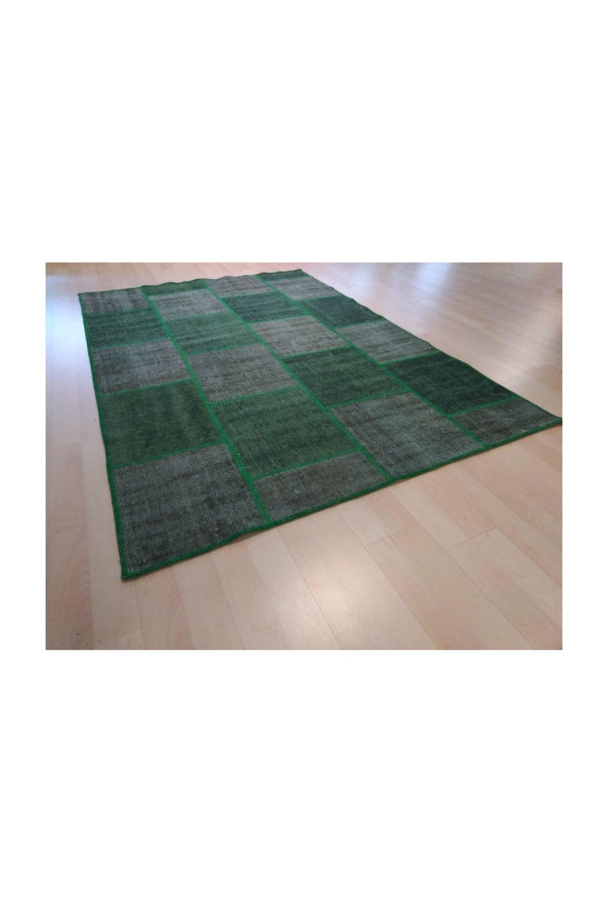 Çam Halı El Dokuma Yeşil Patchwork Halı 160x230 3,68 M2 1