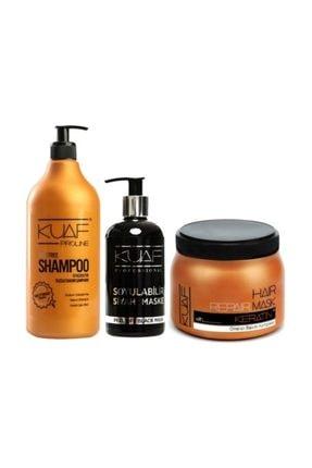 Kuaf Tuz Içermeyen Bakım Şampuanı 1000 ml + Keratin Maskesi 500 ml + Siyah Nokta Giderici Maske 250 ml