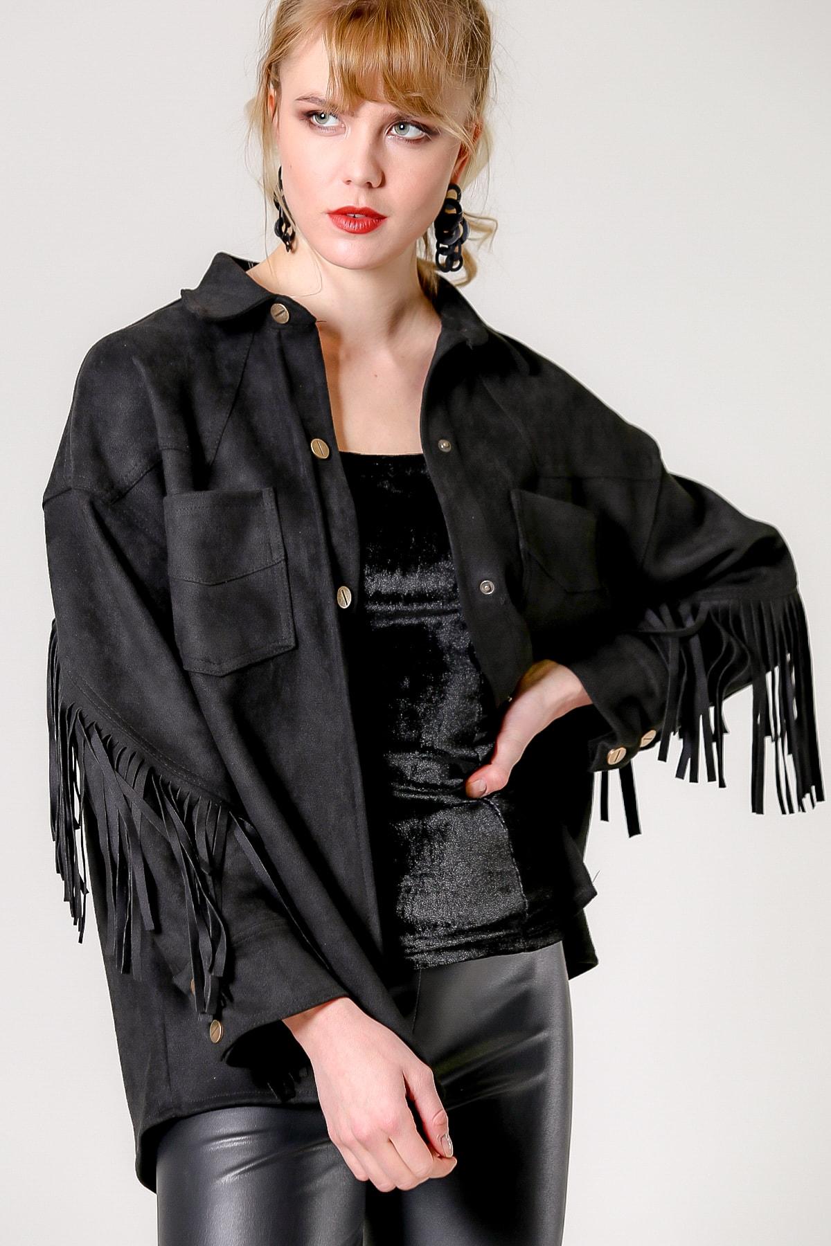 Chiccy Kadın Siyah Kızılderili Saçaklı Süet Ceket M10210100CE99419