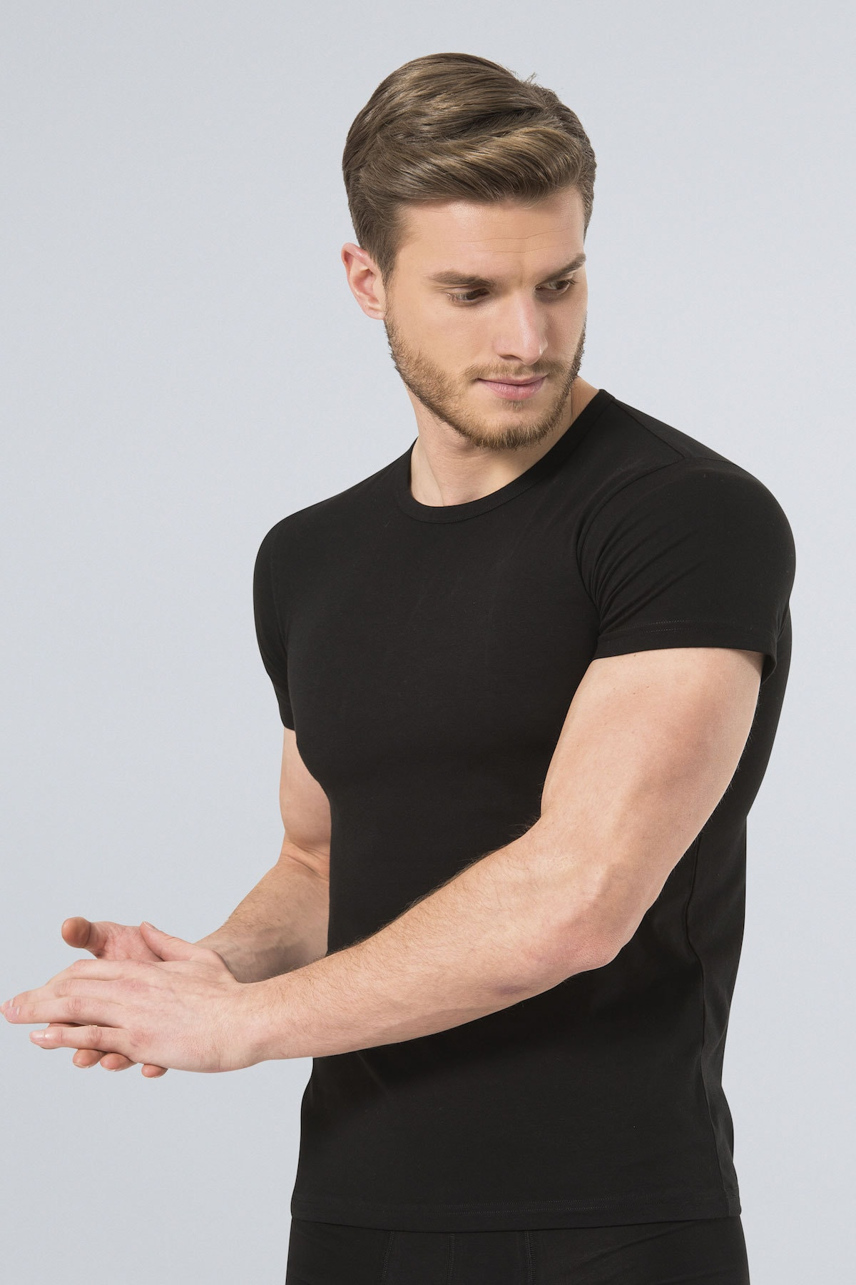 TÜREN Erkek Siyah Likralı Tshirt 1