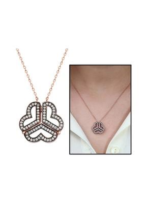 Tesbihane 925 Ayar Gümüş Beyaz Zirkon Taşlı İki Kullanımlı Üç Kalp Bayan Kolye 103000362