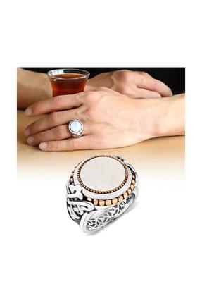 Tesbihane Taş İşlemeli Beyaz Sedef Taşlı Özel Tasarım 925 Ayar Gümüş Erkek Yüzük 102001222
