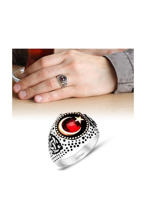 Tesbihane Ayyıldız Motifli Zirkon Taşlı 925 Ayar Gümüş Teşkilat-I Mahsusa Yüzüğü 11020001