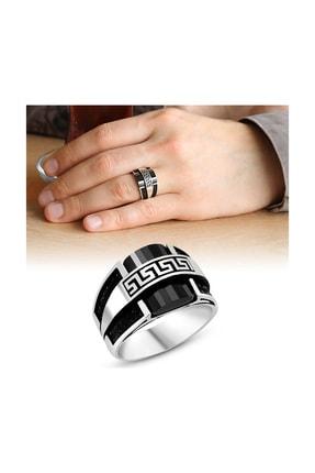 Tesbihane Özel Tasarım Zirkon Taş İşlemeli Siyah Oniks Taşlı 925 Ayar Gümüş Erkek Yüzük 102001133