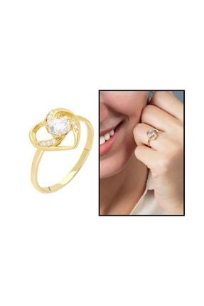 Tesbihane Zirkon Tektaşlı Kalp Tasarım Gold Renk 925 Ayar Gümüş  Yüzük 102001754