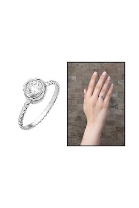 Tesbihane Gül Tasarım 925 Ayar Gümüş Kadın Tektaş Yüzük 102001583