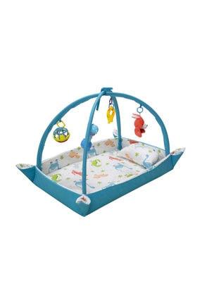 hupim 100% Pamuk Kumaş Mavi Dinazorlu Bebek Oyun Halısı Ve Çocuk Oyun Alanı