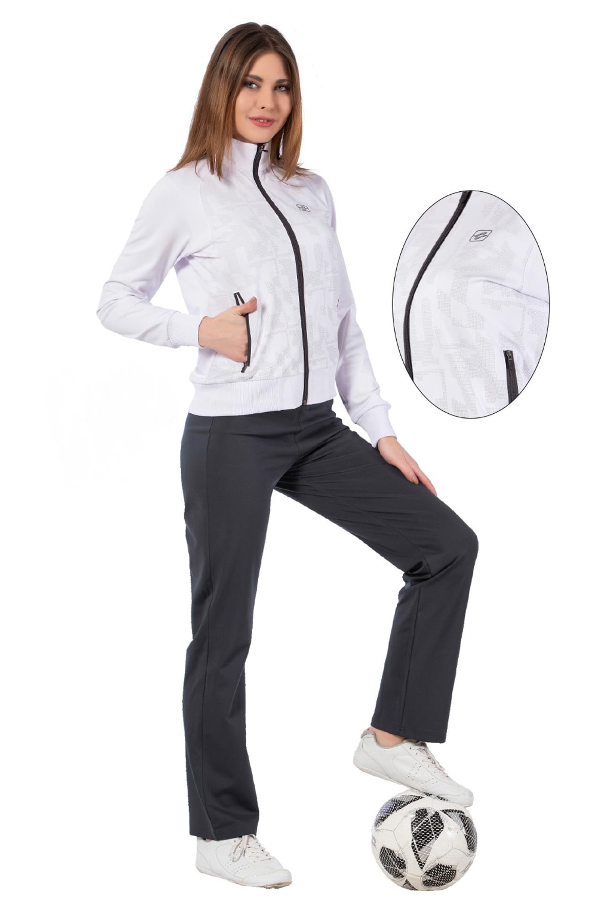 Crozwise kadın eşofman takımı dalgıç beyaz 1219-08 1