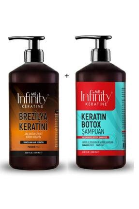 mr infinity Infinty Exp Saç Düzleştirici Keratin 1000 ml+Keratin Botox Şam-Tuzsuz 1000 ml