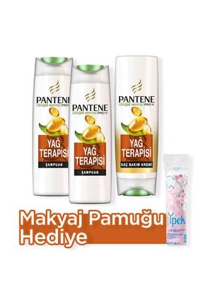 Pantene Doğal Sentez Yağ Terapisi Şampuan 500 ml  x 2 + Saç Bakım Kremi 470 ml  + Makyaj Pamugu Hediye
