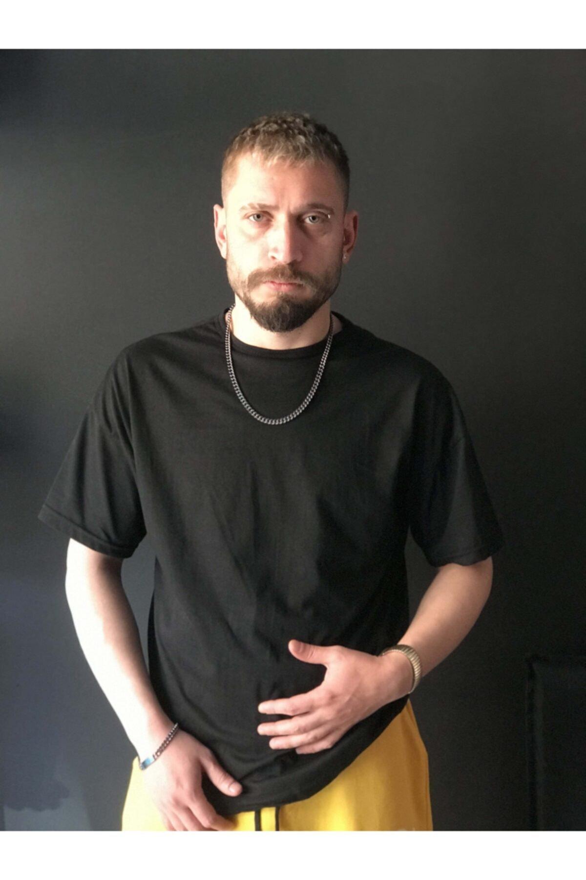EmekGelinlikEvi Düz Oversize Siyah T-shirt 1