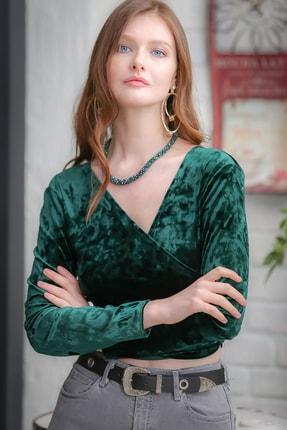 Chiccy Kadın Yeşil Vintage Kruvaze Velur Bluz M10010200BL96587