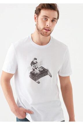 Mavi Dj Baskılı Beyaz Tişört