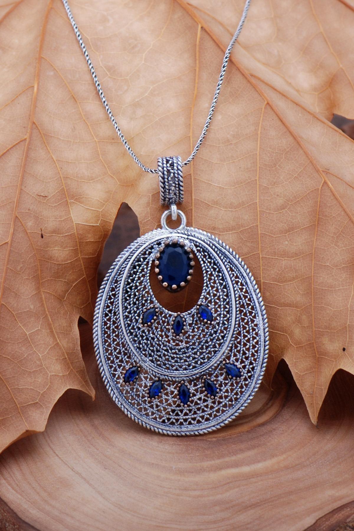 Sümer Telkari Safir Telkari Işlemeli Gümüş Kolye 6750 1