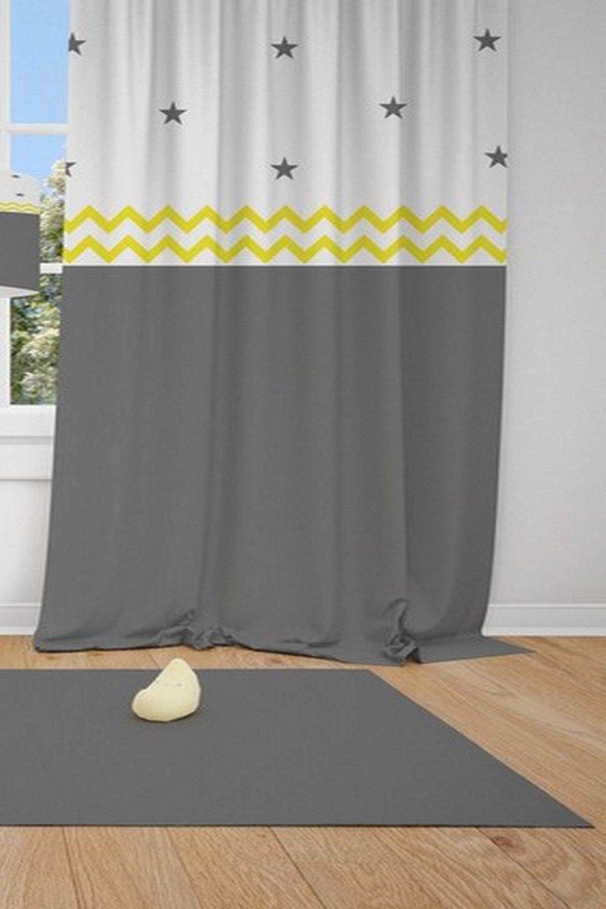 CİCİ TASARIM ÜRÜNLERİ 1 Kanat Sarı Dalgalı Şerit Gri Beyaz Desen Çocuk Bebek Odası Perdesi Fon Perde 1