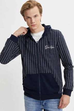 DeFacto Slim Fit Çizgili Kapüşonlu Fermuarlı Sweatshirt