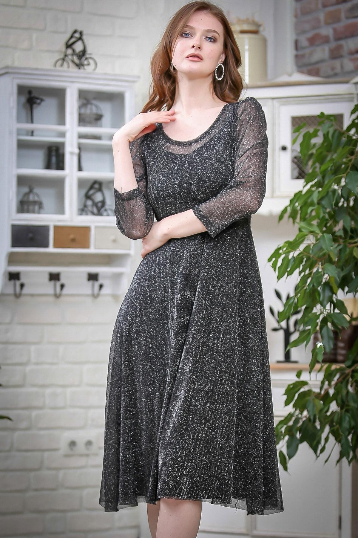 Chiccy Kadın Füme Vintage Gümüş Simli Astarlı Elbise M10160000EL97358