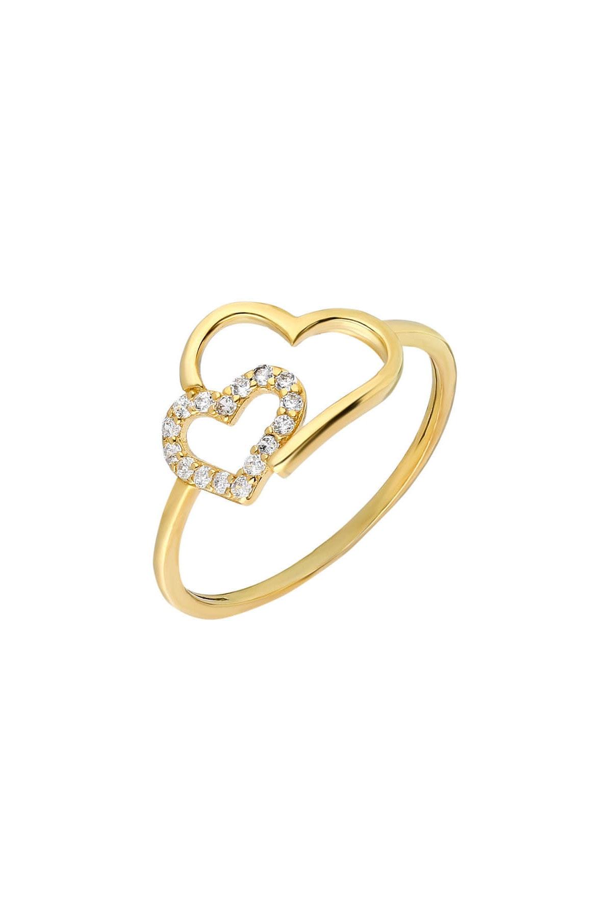 Tesbihane Zirkon Taşlı Asimetrik Kalp Tasarım Gold Renk 925 Ayar Gümüş Bayan Yüzük 102001710 2