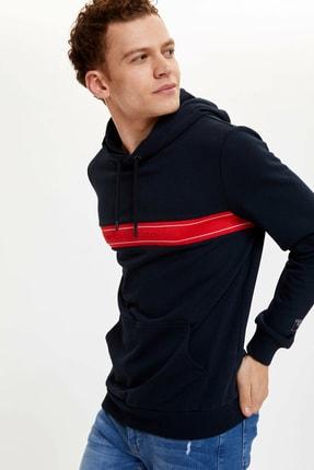 DeFacto Blok Desenli Slim Fit Kapüşonlu Sweatshirt