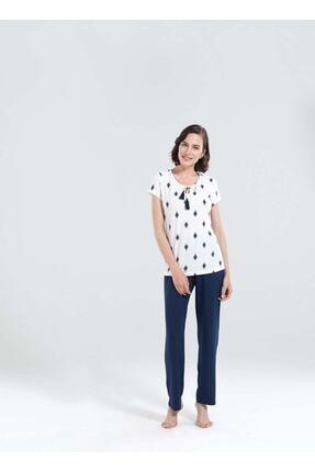 Blackspade Kadın Beyaz Uzun Pijama Seti 50137 - Etnik Desenli