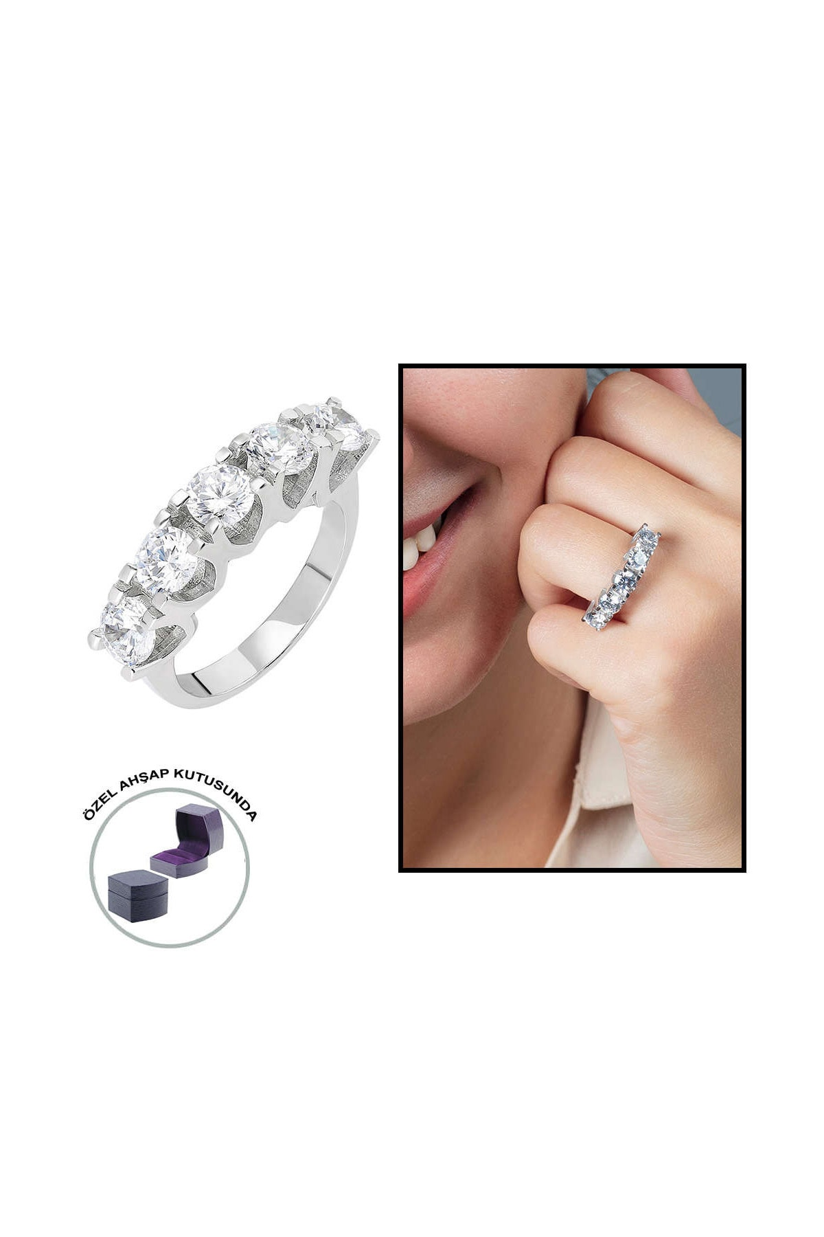 "Tesbihane Starlight Diamond Pırlanta Montür ""U"" Tasarım 925 Ayar Gümüş Bayan Beştaş Yüzük 102001811"