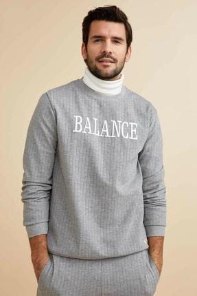 DeFacto Erkek Gri Baskılı Regular Fit Sweatshirt M8158AZ.20SP.GR210