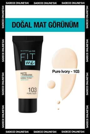 Maybelline New York Mat Fondöten - Fit Me Matte + Poreless Foundation 103 Pure Ivory 3600531544782