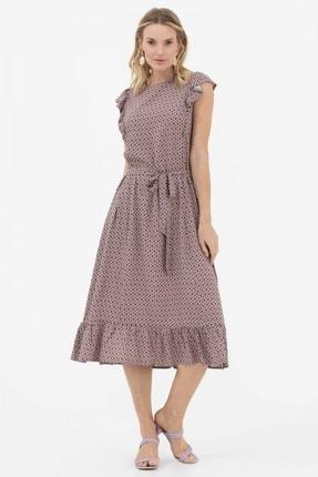 Sementa Fırfır Ve Kemer Detaylı Elbise - Taş