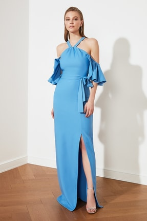 TRENDYOLMİLLA Mavi Yaka Detaylı Abiye & Mezuniyet Elbisesi TPRSS21AE0152