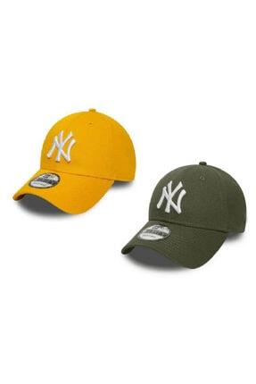 NY Trend Ny New York Şapka Unisex 2 Li Set Haki Yeşil Turuncu