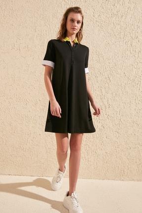 TRENDYOLMİLLA Siyah Gömlek Yaka Örme  Elbise TWOSS19OS0039