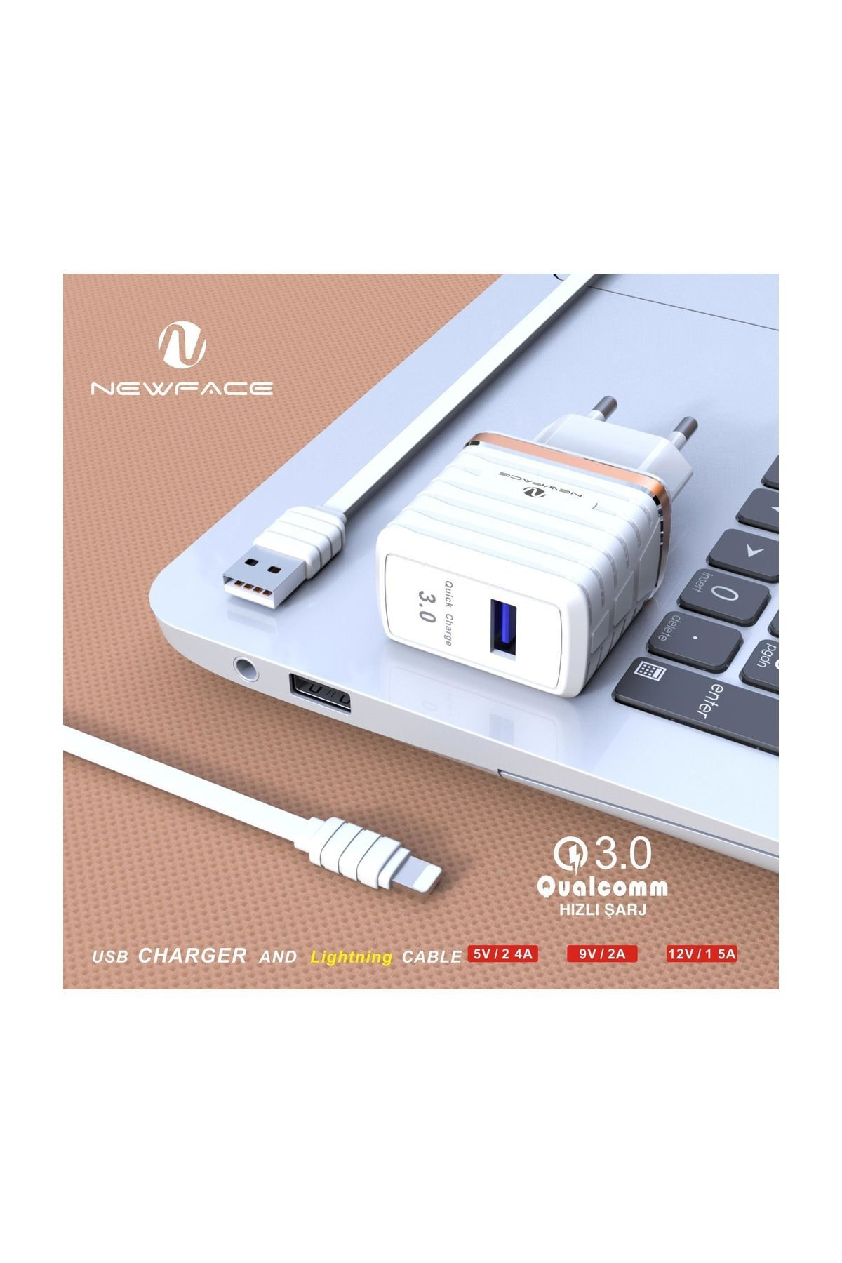 NewFace Apple Ipad Lightning Hızlı Şarj Aleti Seti Qualcomm 3.0a 2