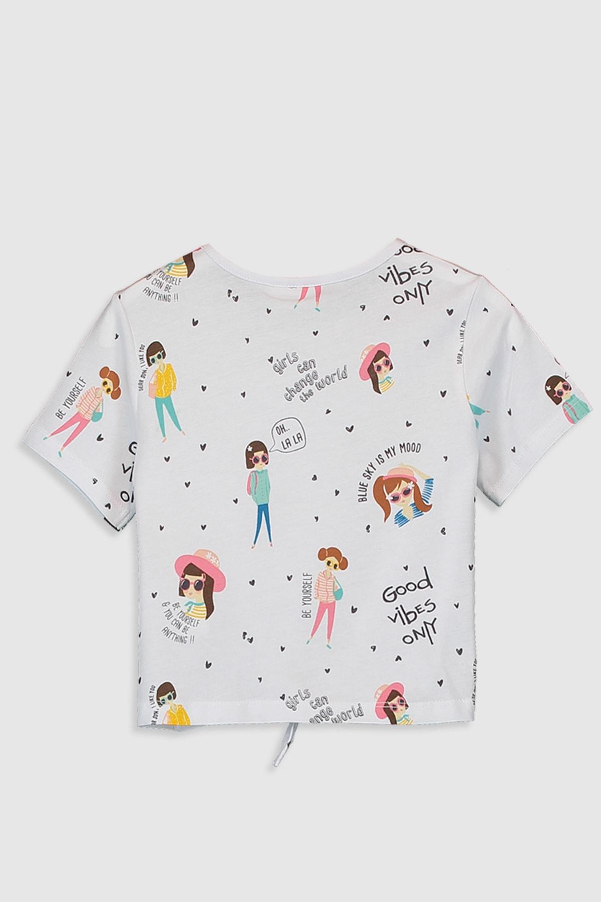 LC Waikiki Kız Çocuk Beyaz Baskılı Lu7 Tişört 2