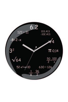 3M Matematik Formüller Bombeli Gerçek Cam Sessiz Duvar Saati