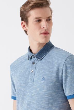 Mavi Denim Yaka Detaylı Mavi Polo Tişört