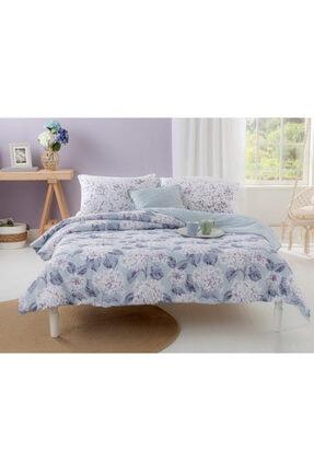 English Home Hyrangea Bouquet Pamuklu Tek Kişilik Nevresim Seti 160x220 Cm Ortanca