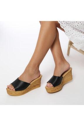 Polaris 315398.z Siyah Kadın Dolgu Topuklu Terlik