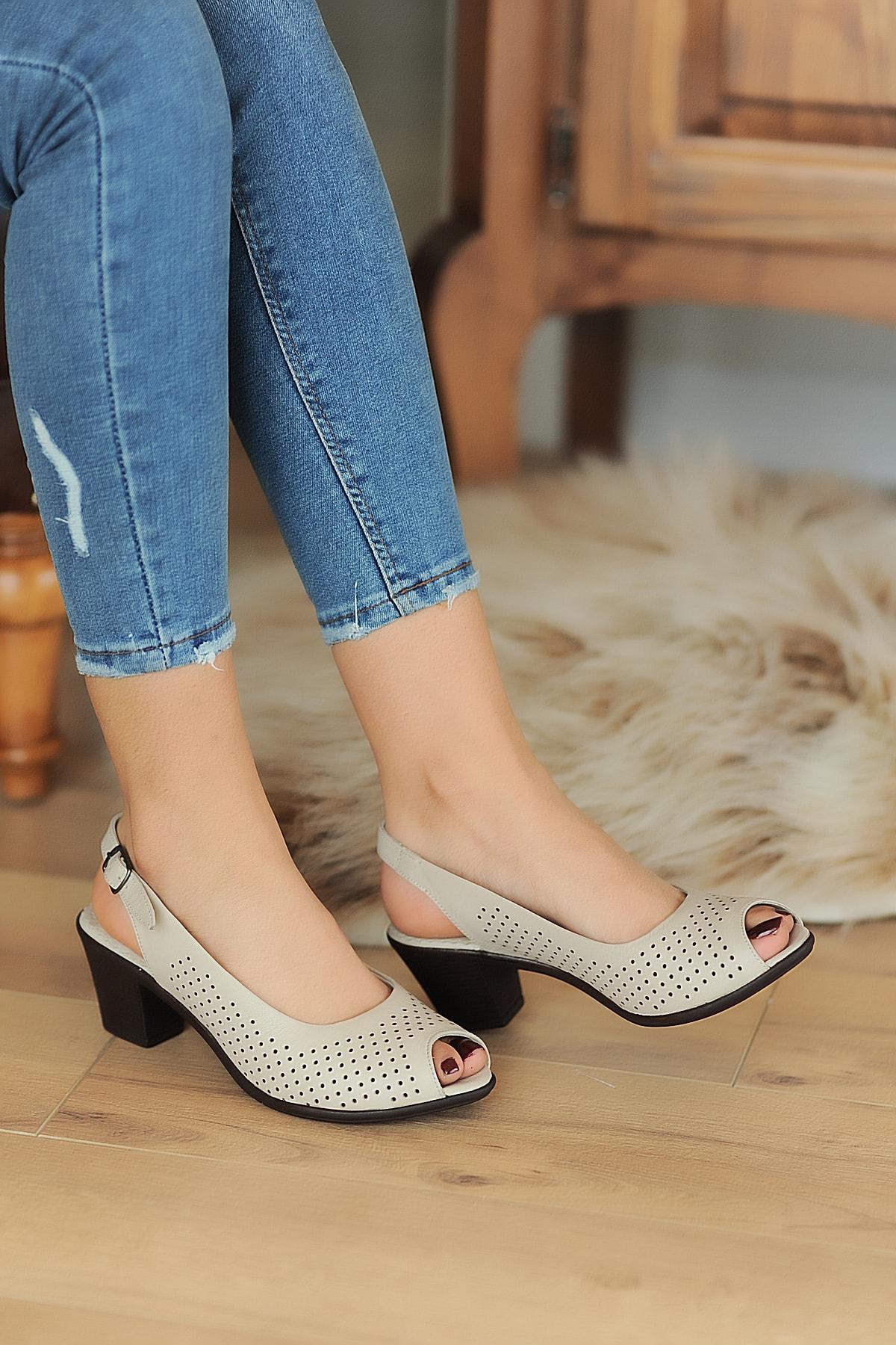 Pembe Potin Bej Kadın Sandalet A610-20 1